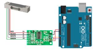 Схема подключения датчика, HX711, Arduino